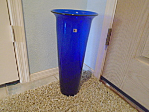 Blenko Cobalt 18.75 In. Art Glass Floor Vase Mint W/sticker