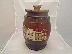 Siesta Ware Cookie Jar w/Wood Lid VINTAGE MINT (Image1)