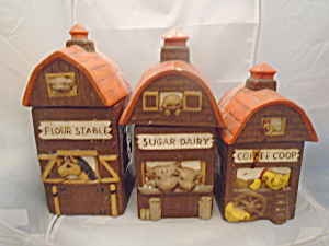 Set Of 3 Barns Vintage Ceramic Canisters Need Cleaning And Repair