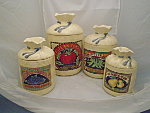 Set of 4 Ceramic Potato Sack Look Canisters H&HD 1988 (Image1)
