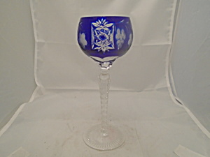 Imperial Crystal Cobalt Cut Glass Wine Hock
