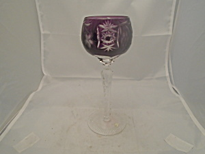 Imperial Crystal Amethyst Cut Glass Wine Hock