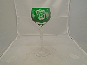 Imperial Crystal Green Cut Glass Wine Hock