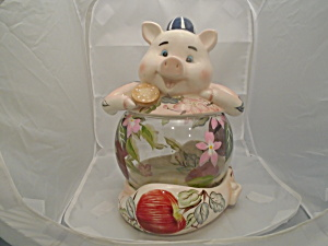 Vigour Giftland Hand Painted Glass/Ceramic Pig Cookie Jar (Image1)