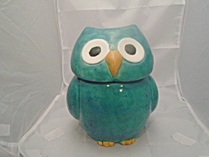 Owl Cookie Jar Ceramic Turquoise