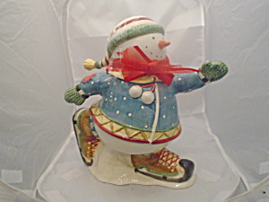 Sakura Debbie Mumm Snowman Skater Cookie Jar So Cute