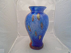 Art Glass Cased Gorgeous Vase Peacock Feathers, Murano?