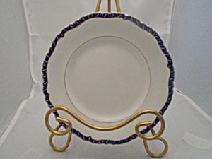 Booths 1243 Dinner Plates White, Cobalt Rim, Gold Trim