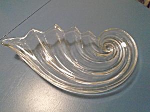 Art Gl Clear Fan Shaped Large Bowl Centerpiece