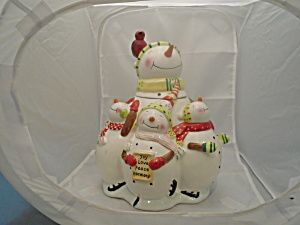 Oneida Snowman Family Ceramic Cookie Jar - So Cute