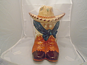Cowboy Boots W/blue Scarf And Hat Ceramic Cookie Jar Cute