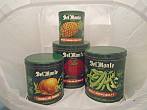 Vintage Delmonte Set of Green Tin Canisters Very Nice (Image1)
