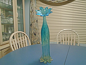 Art Glass Mid Century Unique Blue Flower Top Vase