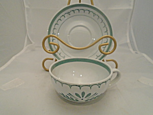 Arabia Green Thistle Finland Cups And Saucer(S)