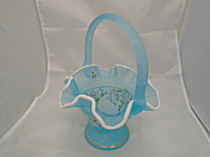 Fenton Blue Hand Painted Basket Signed by Bill Fenton 2002 (Image1)