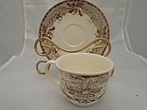 Johnson Bros. Historic America Brown Cups And Saucers New