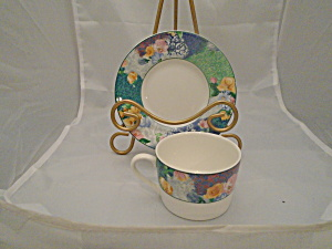 Christopher Stuart French Brocade Cups And Saucers