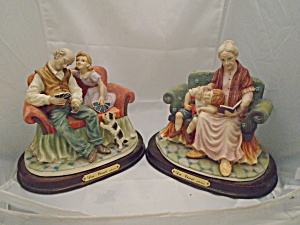 Da Vinci Collection Pair of Grandparent Figurines Wood Base (Image1)