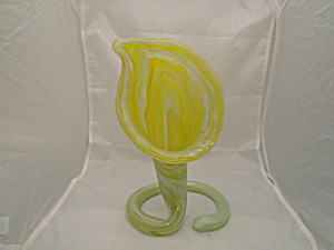 Art Glass Mid Century Yellow Cased Venus Fly Trap Vase