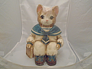 Cat Porcelain Cookie Jar Made In Japan Mint