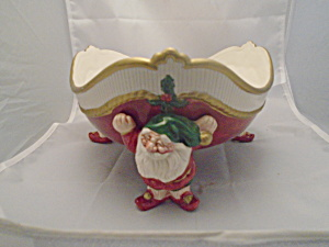 Fitz & Floyd Old World Elf Ceramic Triangle Bowl 1989