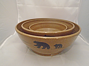 Mill Creek Stoneware Bears/pine Cone Set Of 3 Mixing Bowls