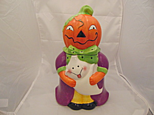 Kitchen Worthy Halloween Pumpkin Girl Cookie Jar Ceramic (Image1)