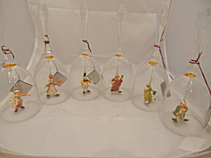Anri Toriart Handpainted Set Of 6 Clown Musical Crystal Bells W/tags