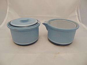 Arita Genesis Blue 5244 Covered Sugar Bowl and Creamer (Image1)