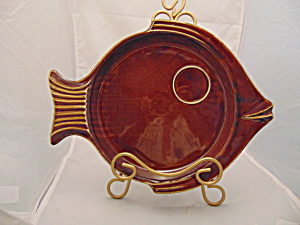 Hall 291 Brown Fish Plates (Snack?) Vintage