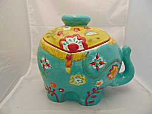 World Market Elephant Cookie Jar Mint And Very Colorful