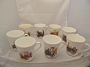 Staffordshire Set Of 8 Vintage Car Automobile Cups/mugs