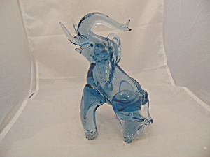 Light Blue Elephant Art Glass Blown Glass 8 In. High