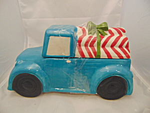 Blue Pick-up Truck W/candy Cane Logs Ceramic Cute