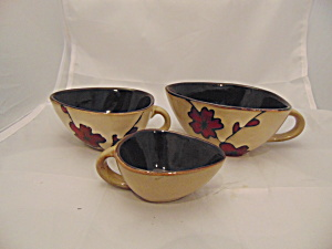Pfaltzgraff Aster Set Of 3 Handled Scoops Rare Mint