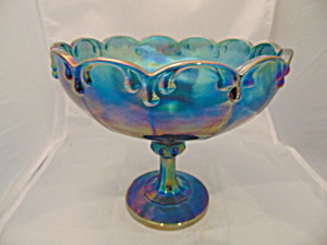Indiana Glass Compote Garland Blue Carnival Mint