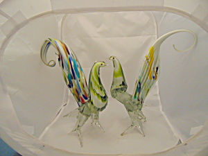 Murano Pair Of Birds 11 In. High Cased Gorgeous Rare Art Glass