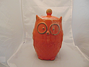 Orange Owl Ceramic Cookie Jar Simple And Cute