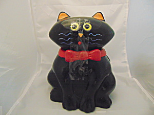 Black Cat Ceramic Cookie Jar (His Face Is So Cute)