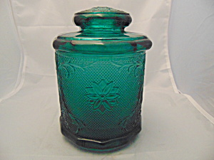 Indiana Glass Sandwich Teal Canister