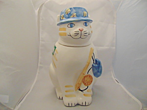 Himark Gone Fishing Ceramic Cookie Jar White Kitty Cat
