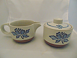 Midwinter Wedgwood Blue Print Creamer And Covered Sugar Bowl