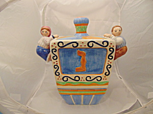 Square Cookie Jar W/handles Of Boys Climbing To The Top Ceramic