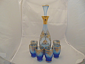 Blue And Gold Decanter W/stopper And 6 Glasses