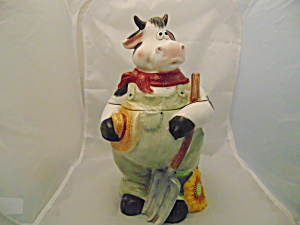 Popular Ceramics Cowboy Farmer Cow Cookie Jar So Cute