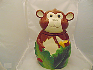 Pier 1 Monkey Cookie Jar Ceramic
