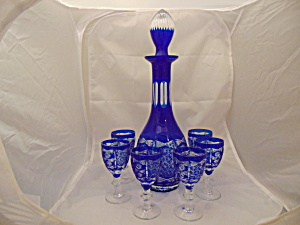 Bohemian Cobalt Decanter W/stopper/ 6 Small Glasses Cut Glass Mint