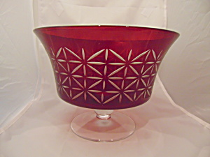 Partylite Ruby/red/garnet Pedestal Bowl Cut Glass Mint