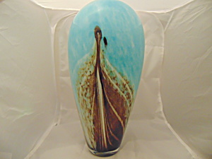 Art Glass Cased Gorgeous Vase Feathers Brown, Turquoise