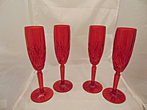 Waterford Brookside Red Flutes Set Of 4 Mint Beautiful